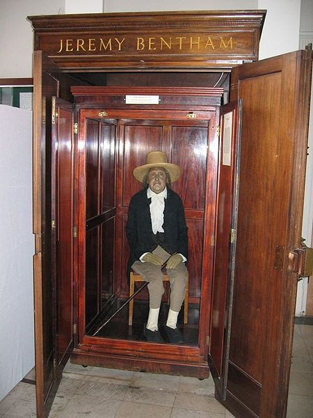"Jeremy Bentham, founder of utilitarian philosopher and early animal rights advocate. Here is Bentham's ""auto-icon"" (his ""skeletonized"" remains plus a wax head, preserved forever in the lobby of University College London. Bentham suggested that these utilitarian uses of dead bodies would be helpful to future college decision-makers who could look at this suit of clothes inhabited by the remains of the great man and think, ""What would Jeremy do?"" Surely one of the strangest natural history specimens in the world. (Photo credit: Michael Reeve)"