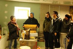 Nous apprenons comment l'apicultrice récolte le miel