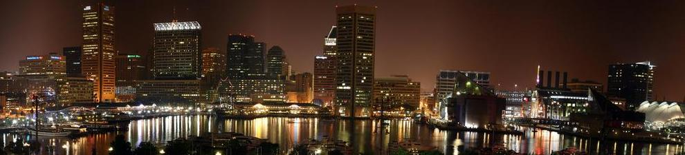 Baltimore-skyline-night-time-city