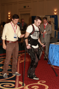 Guy using a prosthetic to walk