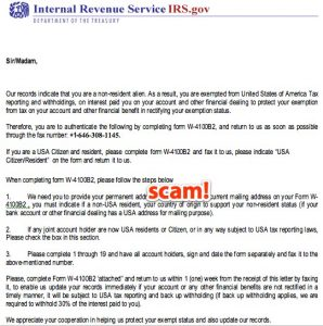 example of scam email