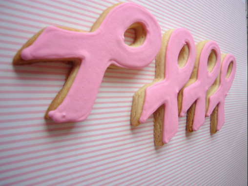 breast cancer ribbon cookies